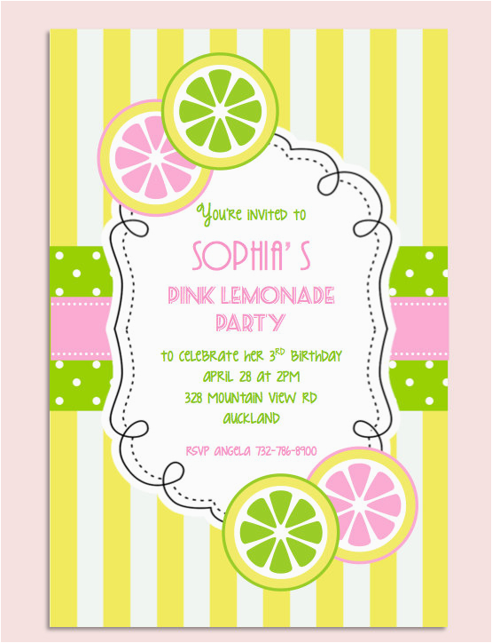 Lemonade Birthday Party Invitations Pink Lemonade Birthday Party Invitation Personalized Diy