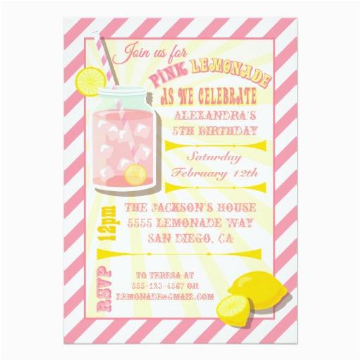 pink lemonade birthday party invitations 161379113368242169