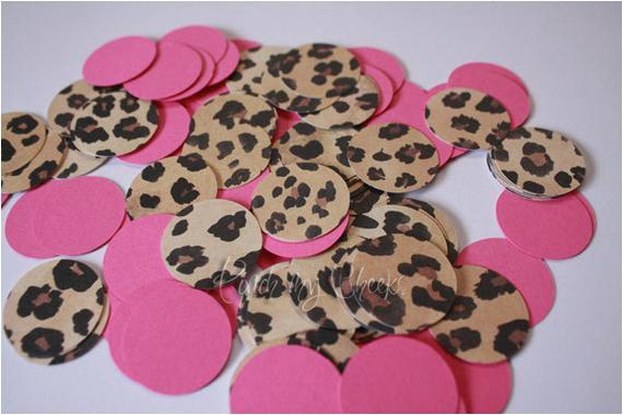 leopard cheetah hot pink confetti
