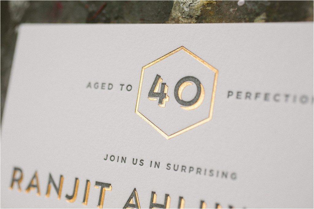 foil letterpress fortieth birthday invitations