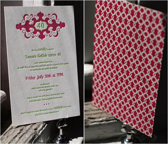 letterpress birthday party invitations