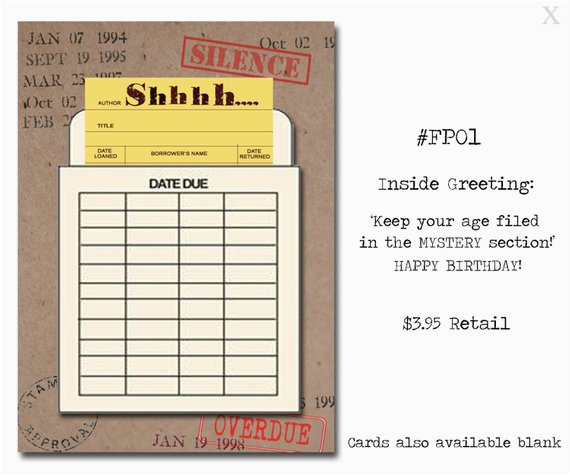 Librarian Birthday Card Shhhhh Book themed Birthday Card with A Vintage Book Card and