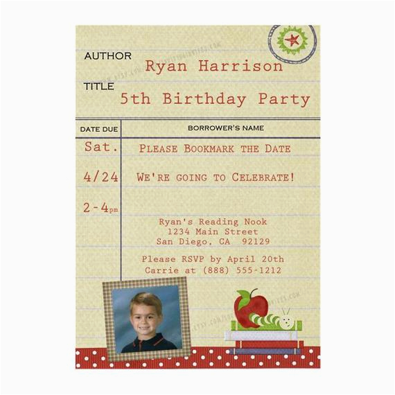 Library Card Birthday Invitations Bookworm Party Invitation Printable Digital