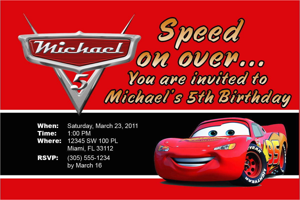 Lightning Mcqueen Birthday Invitations Free Printable Personalized
