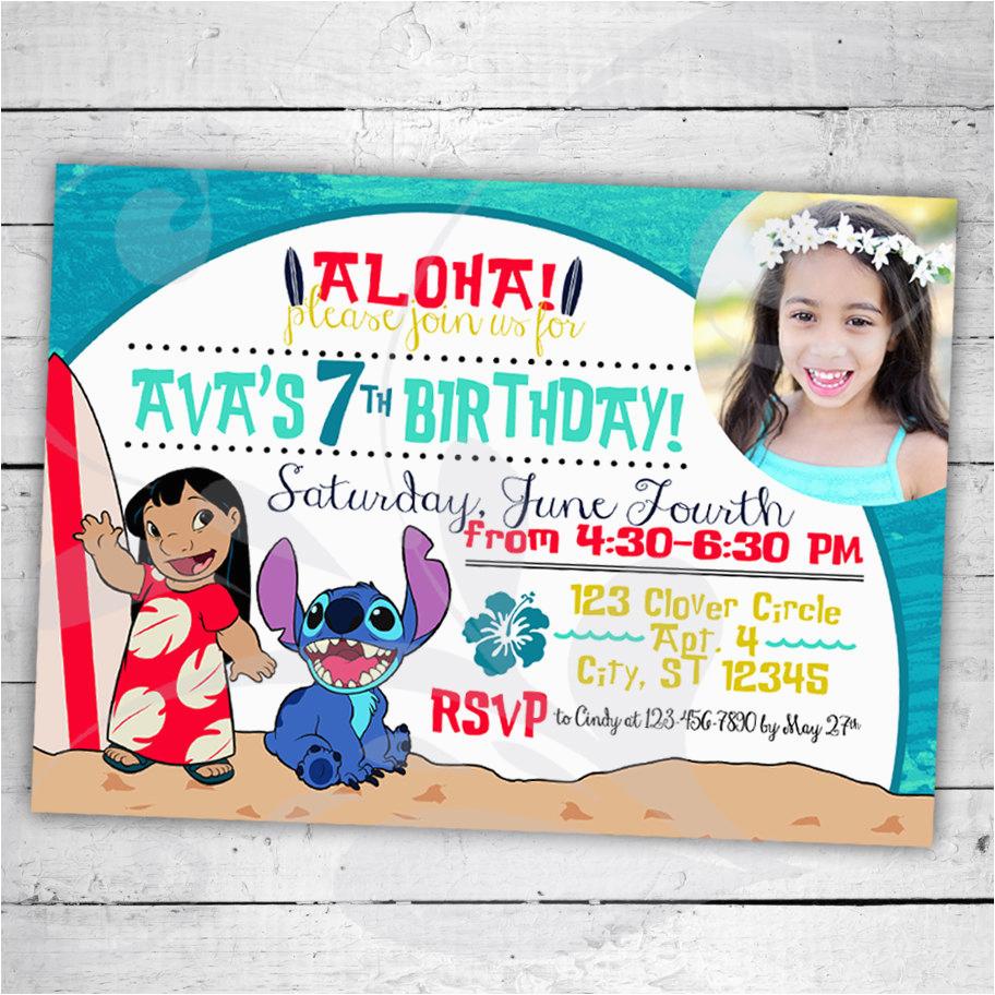 lilo stitch birthday party invitation