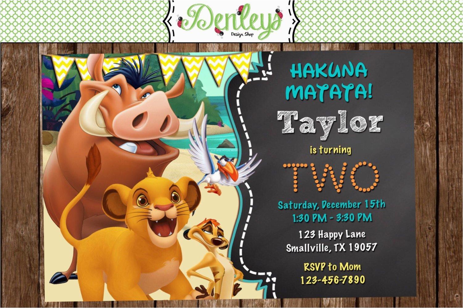 Lion King 1st Birthday Invitations Lion King Birthday Invitation Lk01