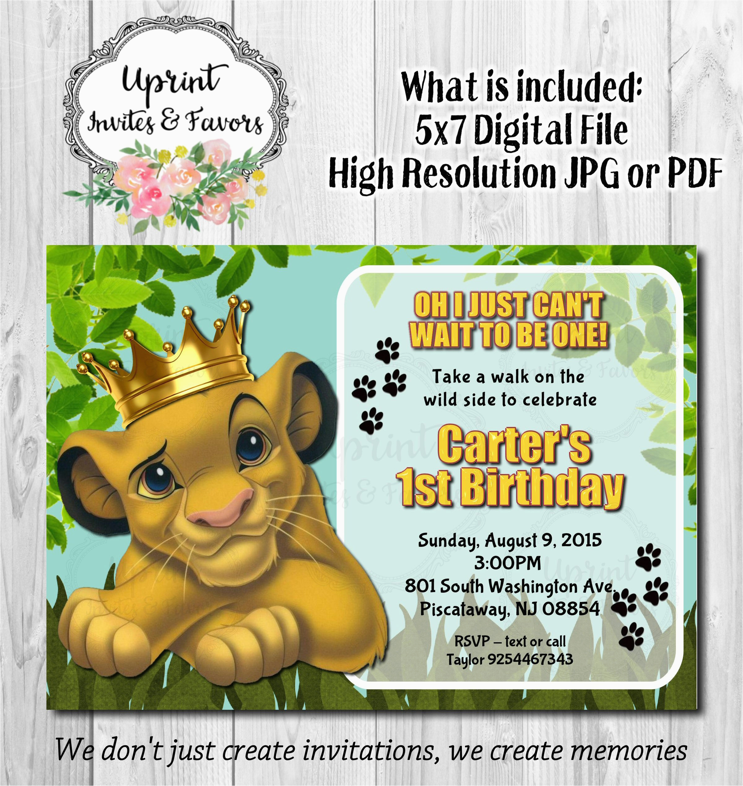 simba king jungle invitation simba with