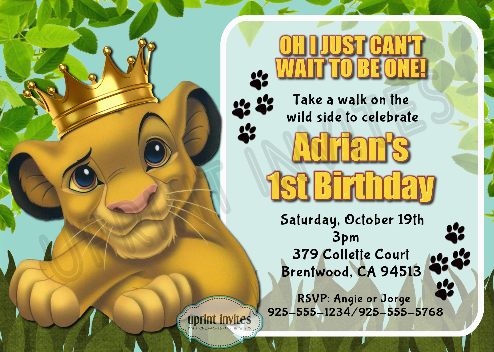 lion king birthday invitations
