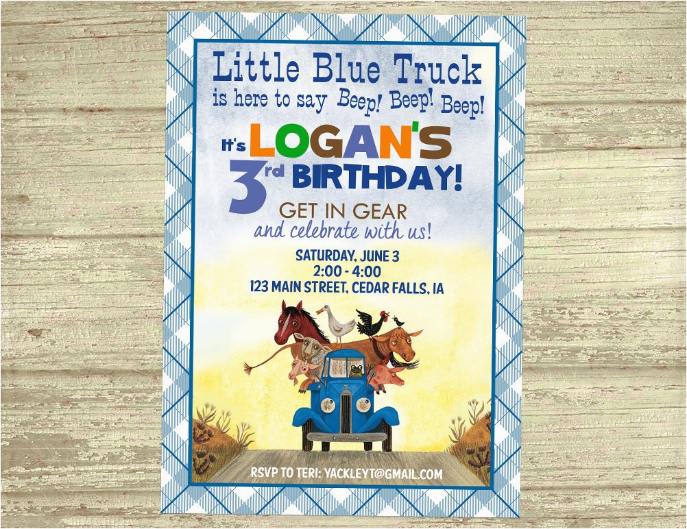 little blue truck birthday invitation