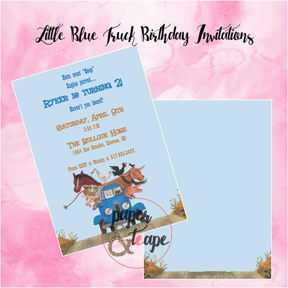 little blue truck birthday invitations
