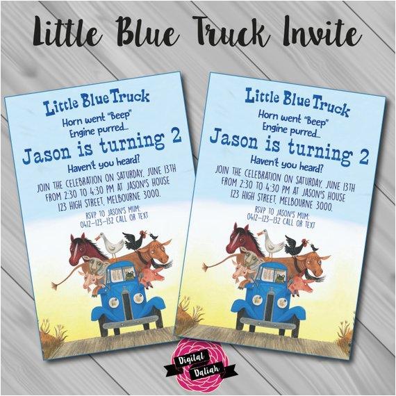 Little Blue Truck Birthday Invitations Little Blue Truck Invitation Digital by Digitaldaliah On Etsy