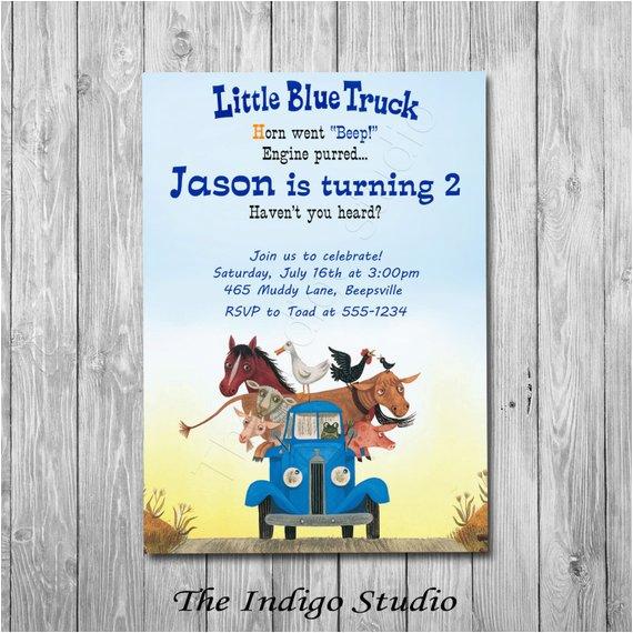 little blue truck invitation option with