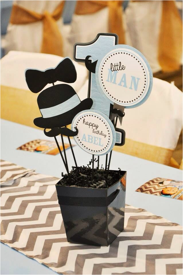 Little Man 1st Birthday Decorations Mustache Party First Centerpieces