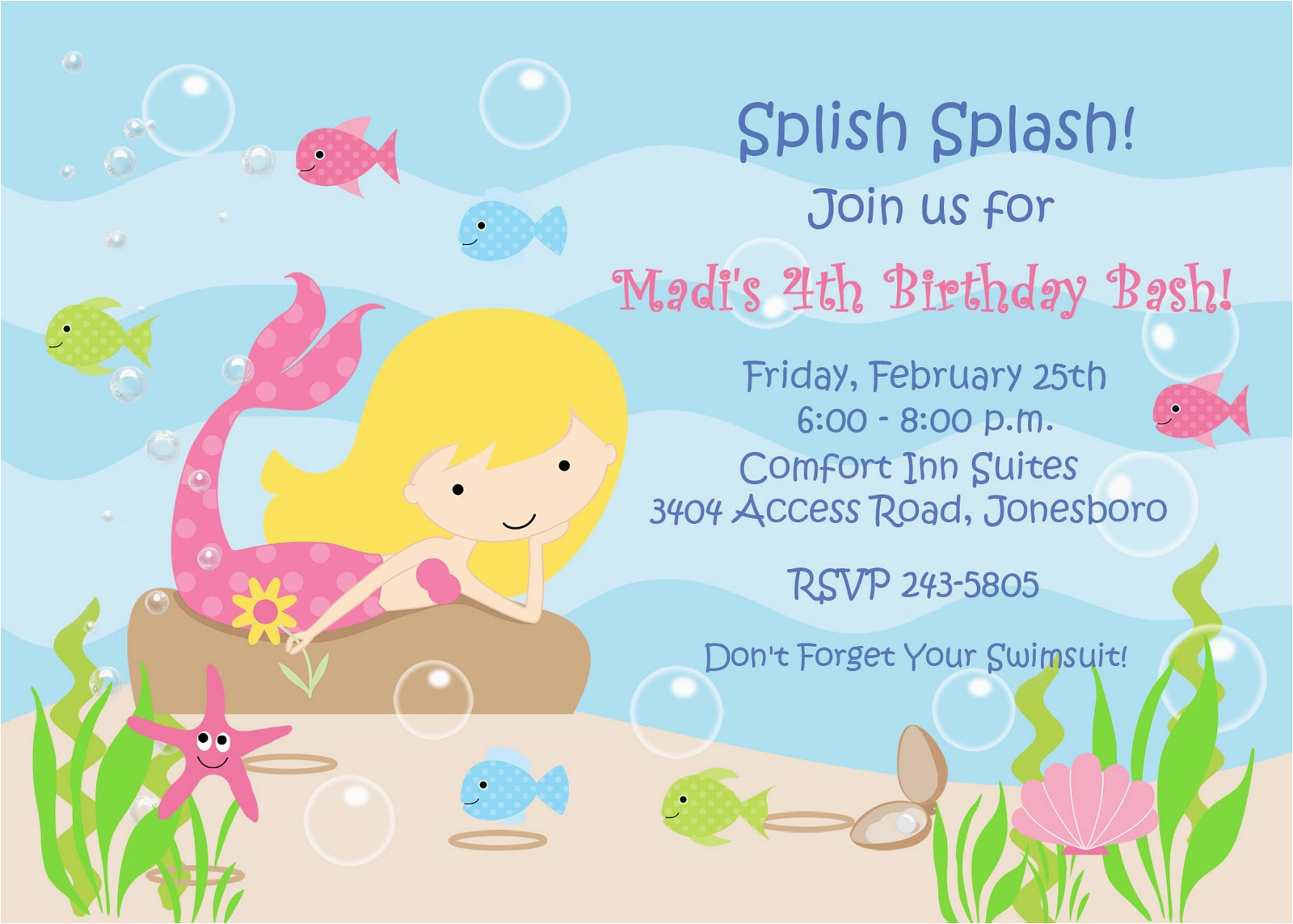 Little Mermaid Birthday Invitation Template 8 Best Images Of Free Printable