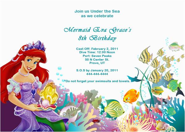 Little Mermaid Birthday Invitation Template Ariel Disney Free