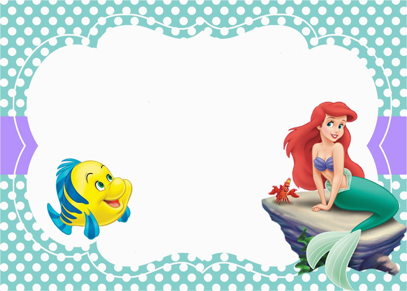 Little Mermaid Birthday Invitation Template Free Printable Templates