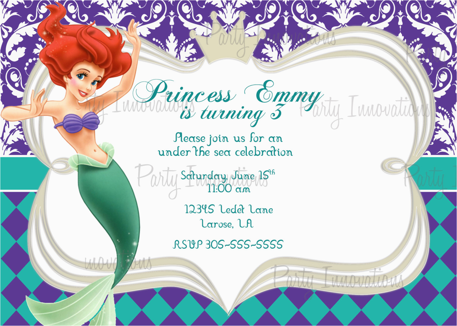 Little Mermaid Birthday Invitations Free Printables 9 Best Images Of Free Mermaid Printable Invitation
