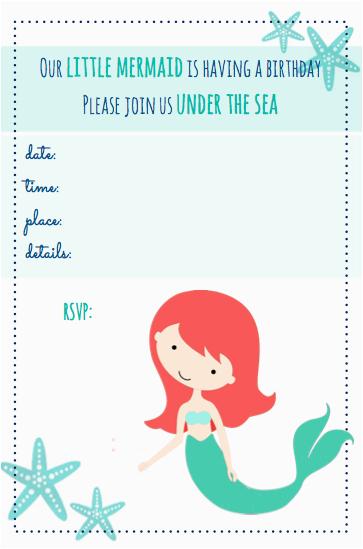 Little Mermaid Birthday Invitations Free Printables Beachy Party Beach Themed