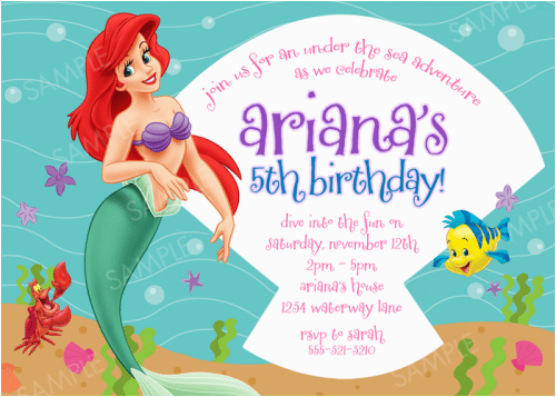 free little mermaid party invitation