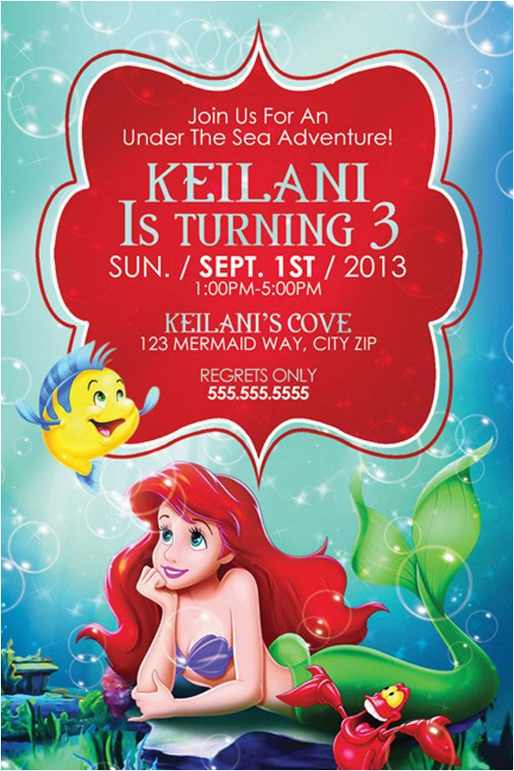 Little Mermaid Birthday Invites Ariel Invitations