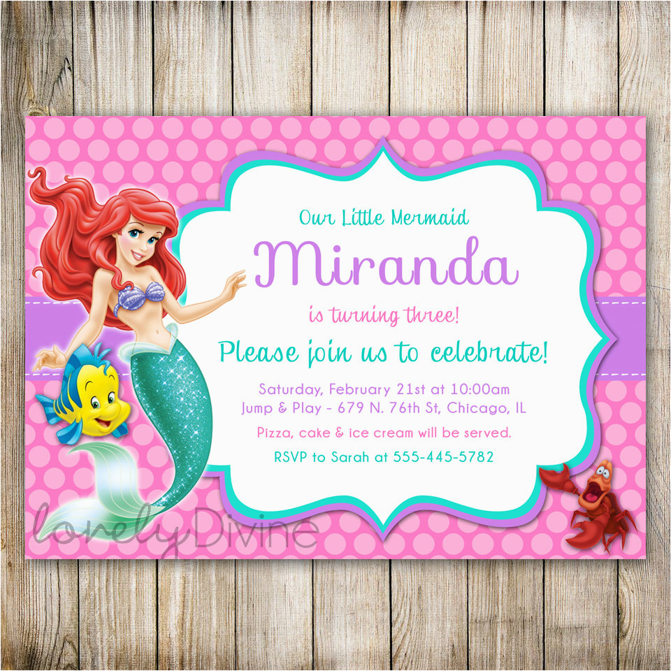 Little Mermaid Birthday Invitation Ariel