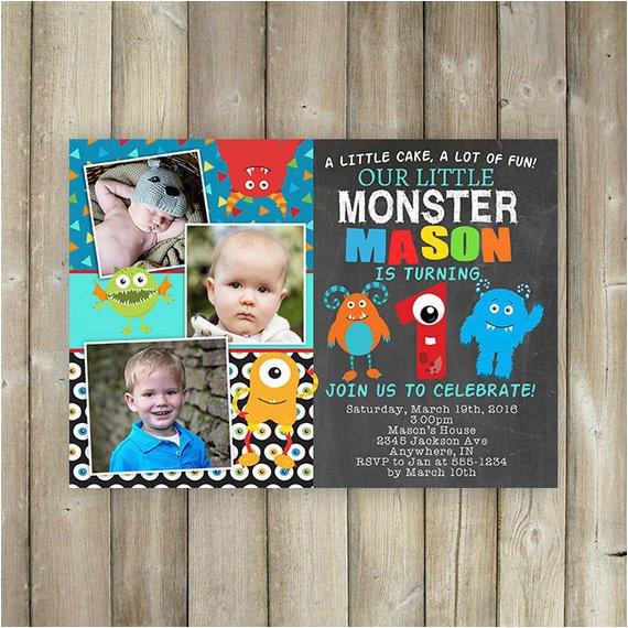 little monster first birthday invitation