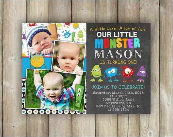 Little Monster 1st Birthday Invitations Little Monster First Birthday Invitation Boys 1st Bday