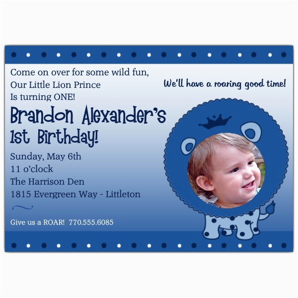 1st birthday little lion prince photo invitations p 606 75 lb01