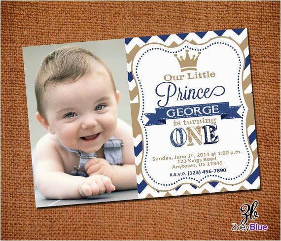 Little Prince 1st Birthday Invitations Little Prince Birthday Invitation with Picture by