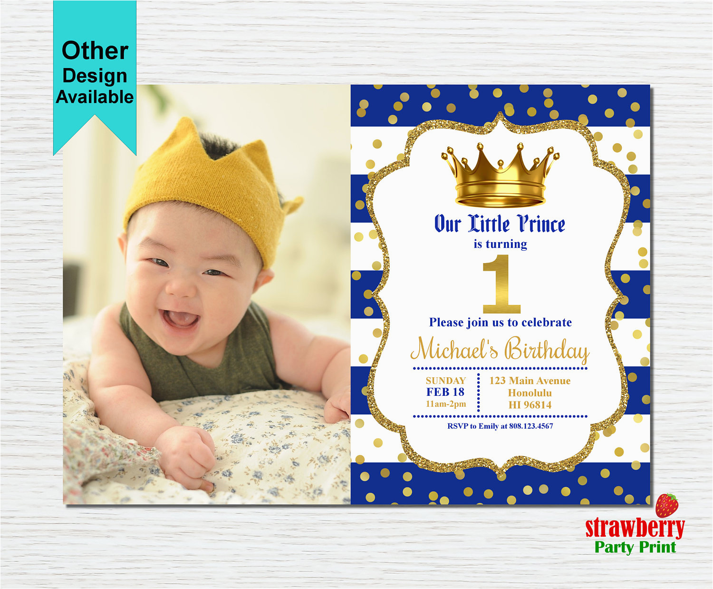Little Prince 1st Birthday Invitations Prince Birthday Invitation Royal Blue Gold Birthday