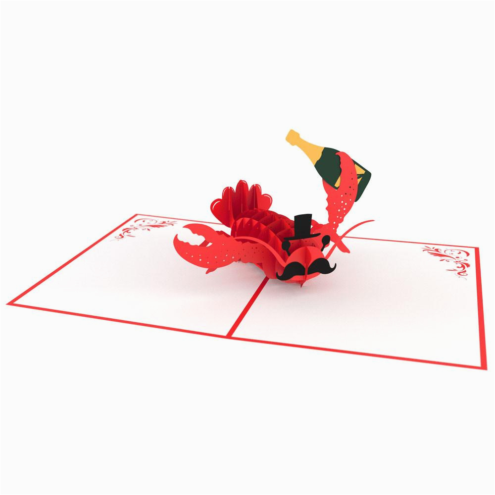 fancy lobster 3d pop up birthday card