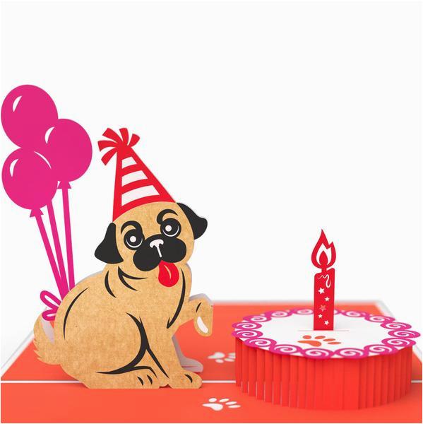 pug cake smash 3d pop up birthday card