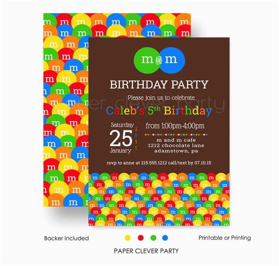 m m birthday party invitation kids