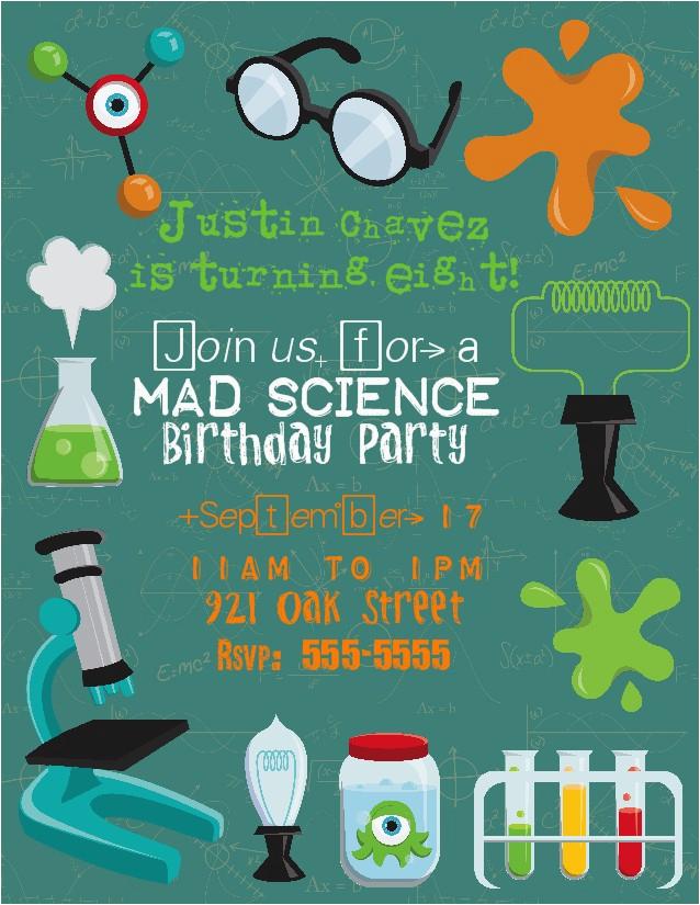 Mad Scientist Birthday Invitations Bear River Photo Greetings Mad Scientist Birthday Party