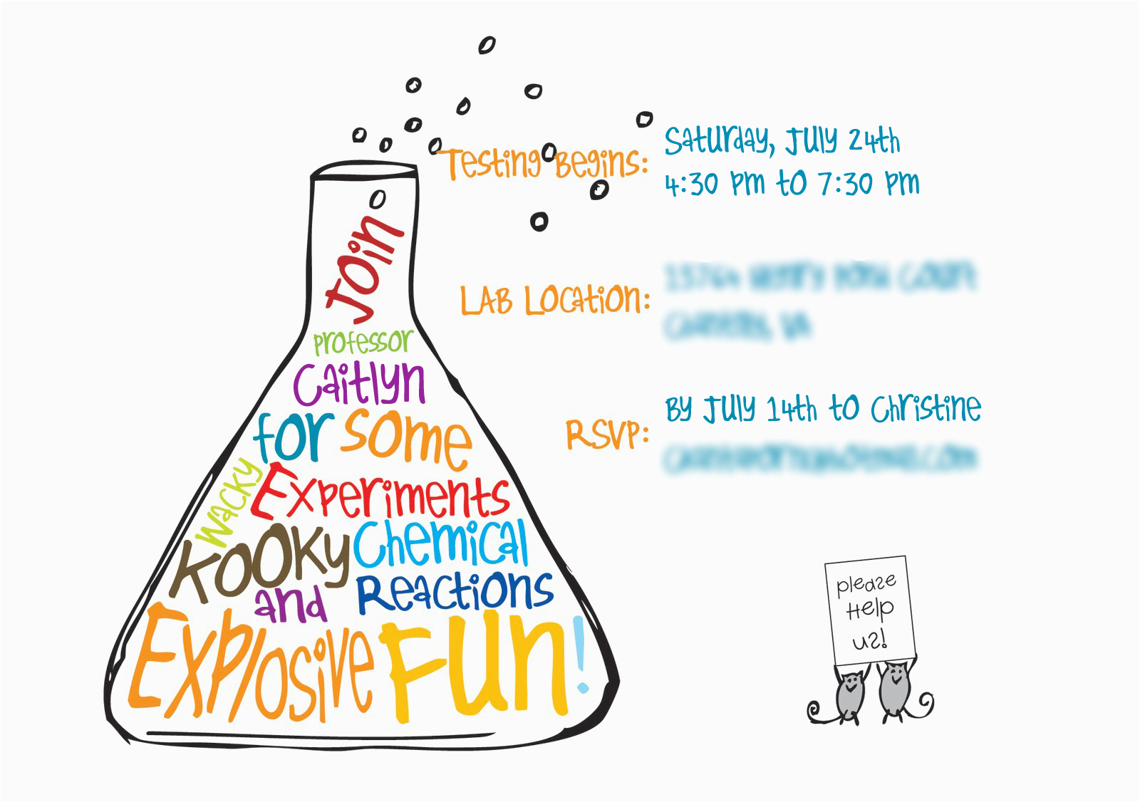 mad science birthday party invitations