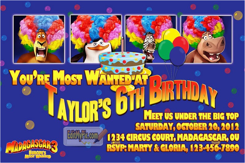 madagascar 3 birthday party invitation custom printable