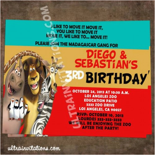 madagascar 3 party invitations printable or prints