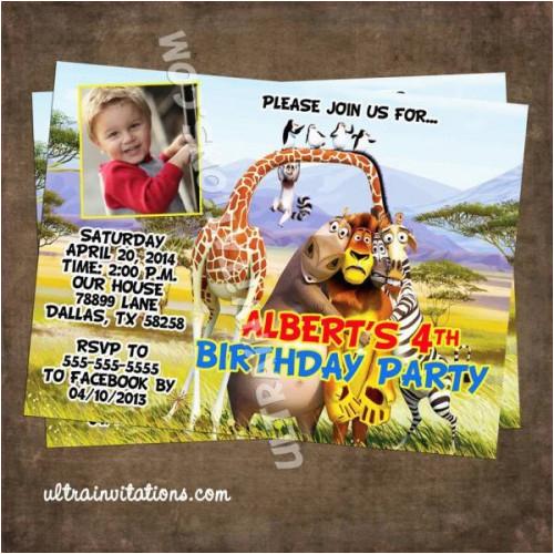 madagascar 3 photo cards invitations penguins invites