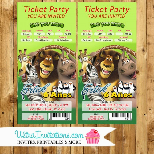 madagascar backstage pass ticket concert invitations