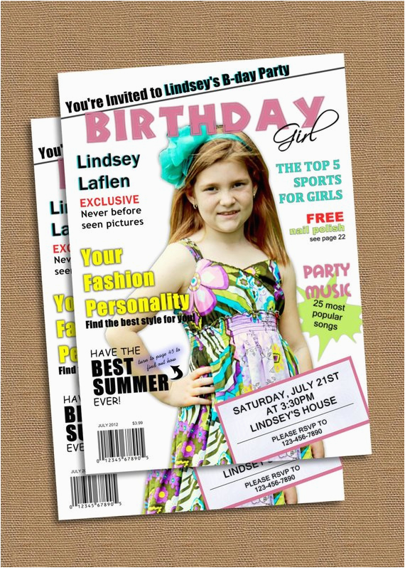 magazine cover birthday invitation
