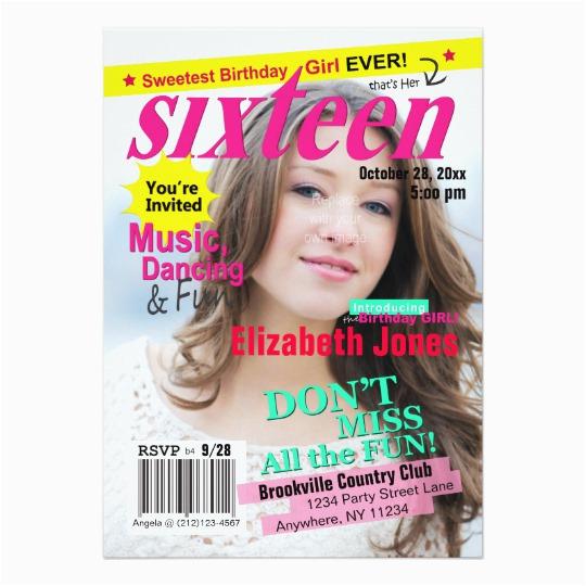 sweet 16 magazine cover birthday invitation 161302731395639192