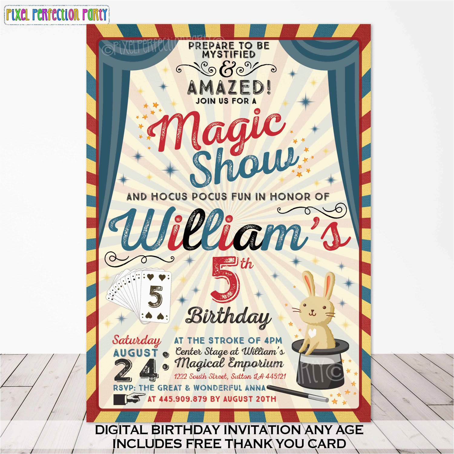 Magic Show Birthday Invitations Magic Party Invitation Magic Birthday Invitation Magician