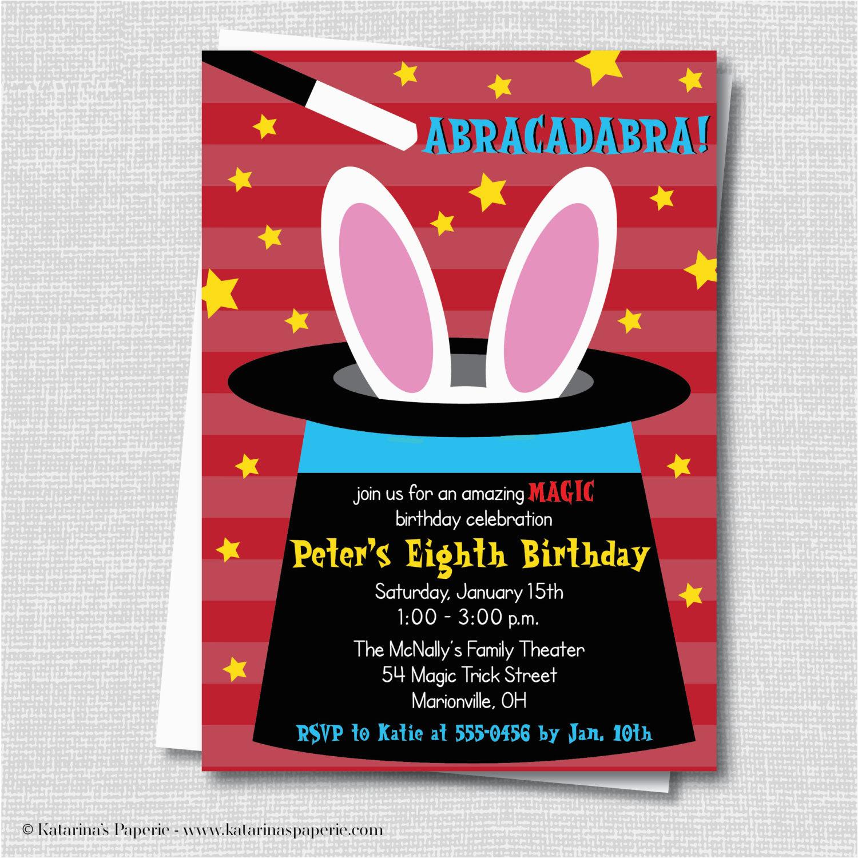 boy magic birthday party invitation