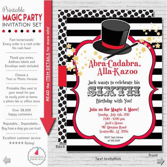 magic party invitation magic birthday