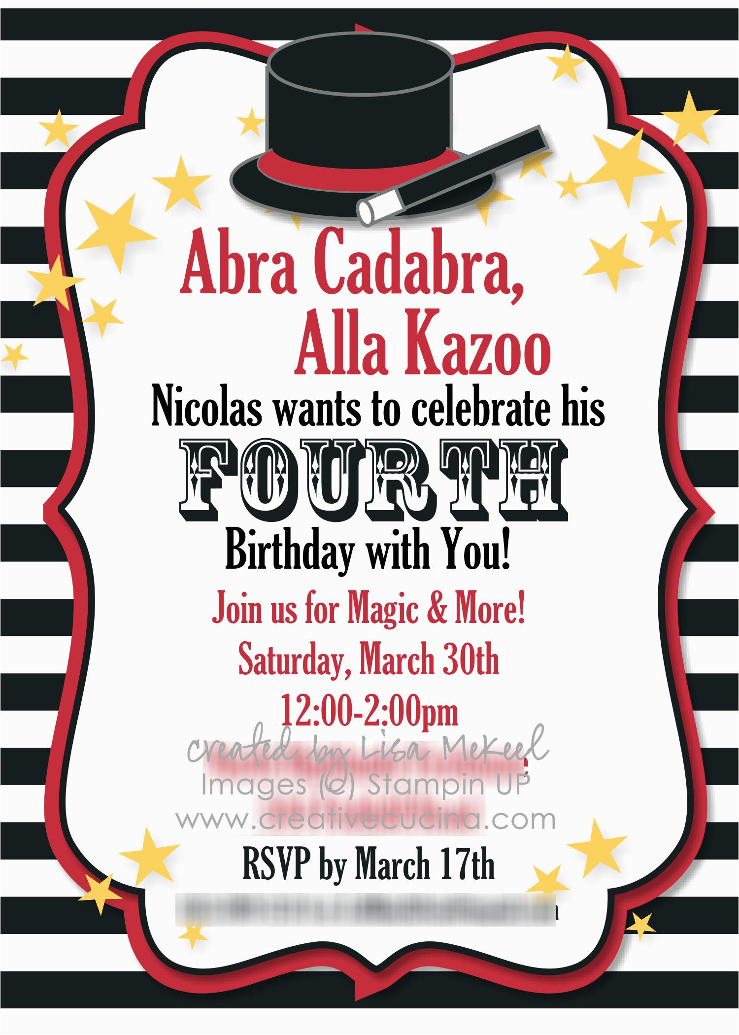 magic party invitations