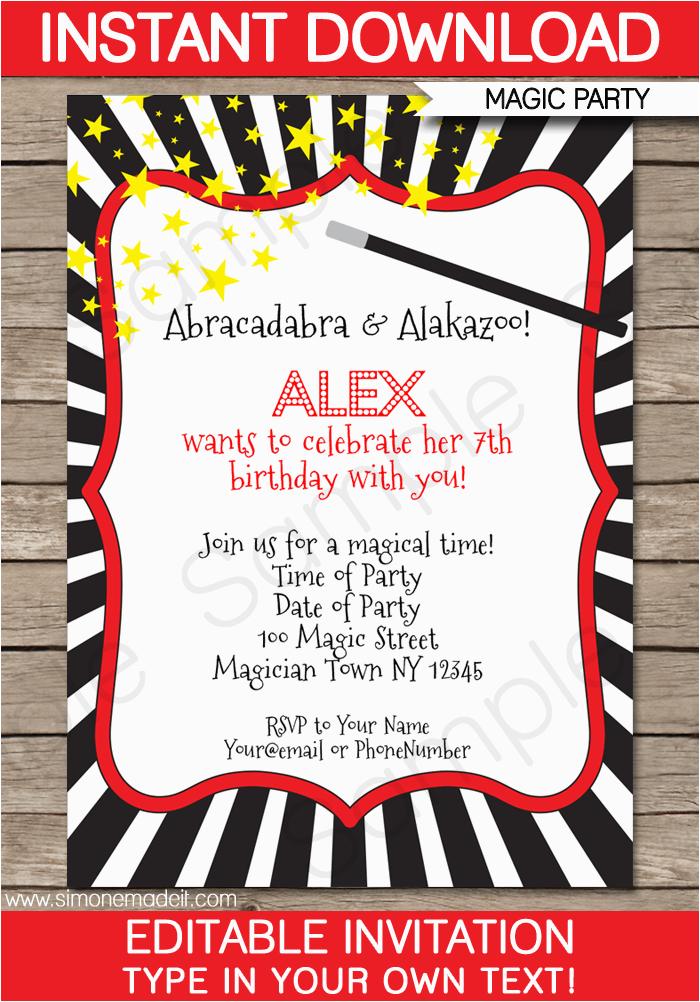 Magician Birthday Invitations Magic Party Invitations Template Birthday Party