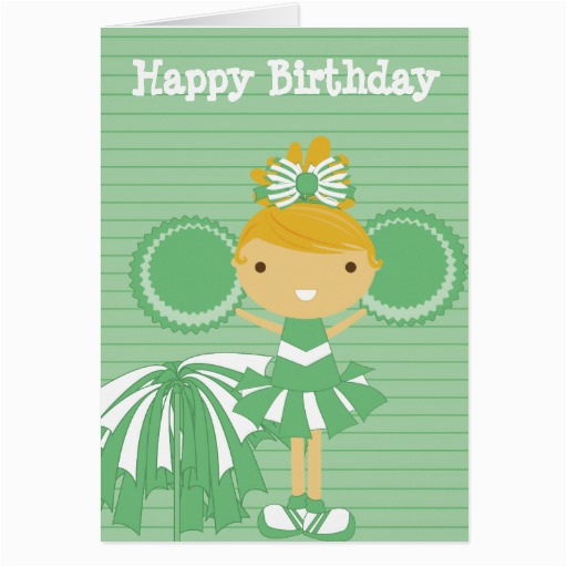 cheerleader in green personalized birthday cards 137757344030139162