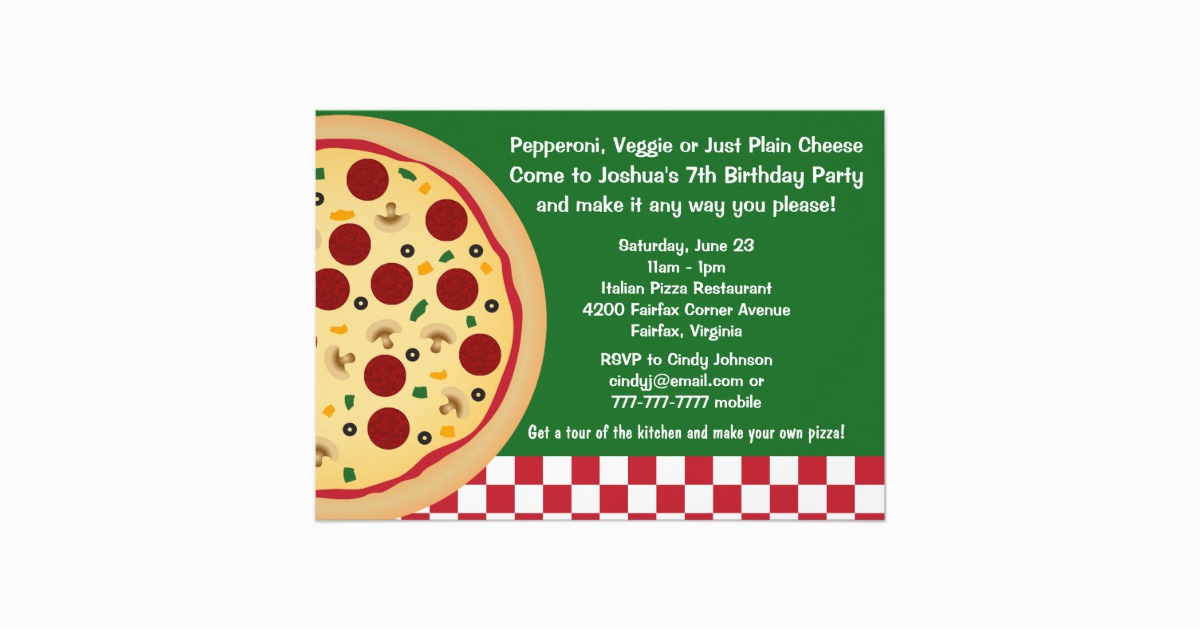 make your own pizza kids birthday party invitation 256710320551337933