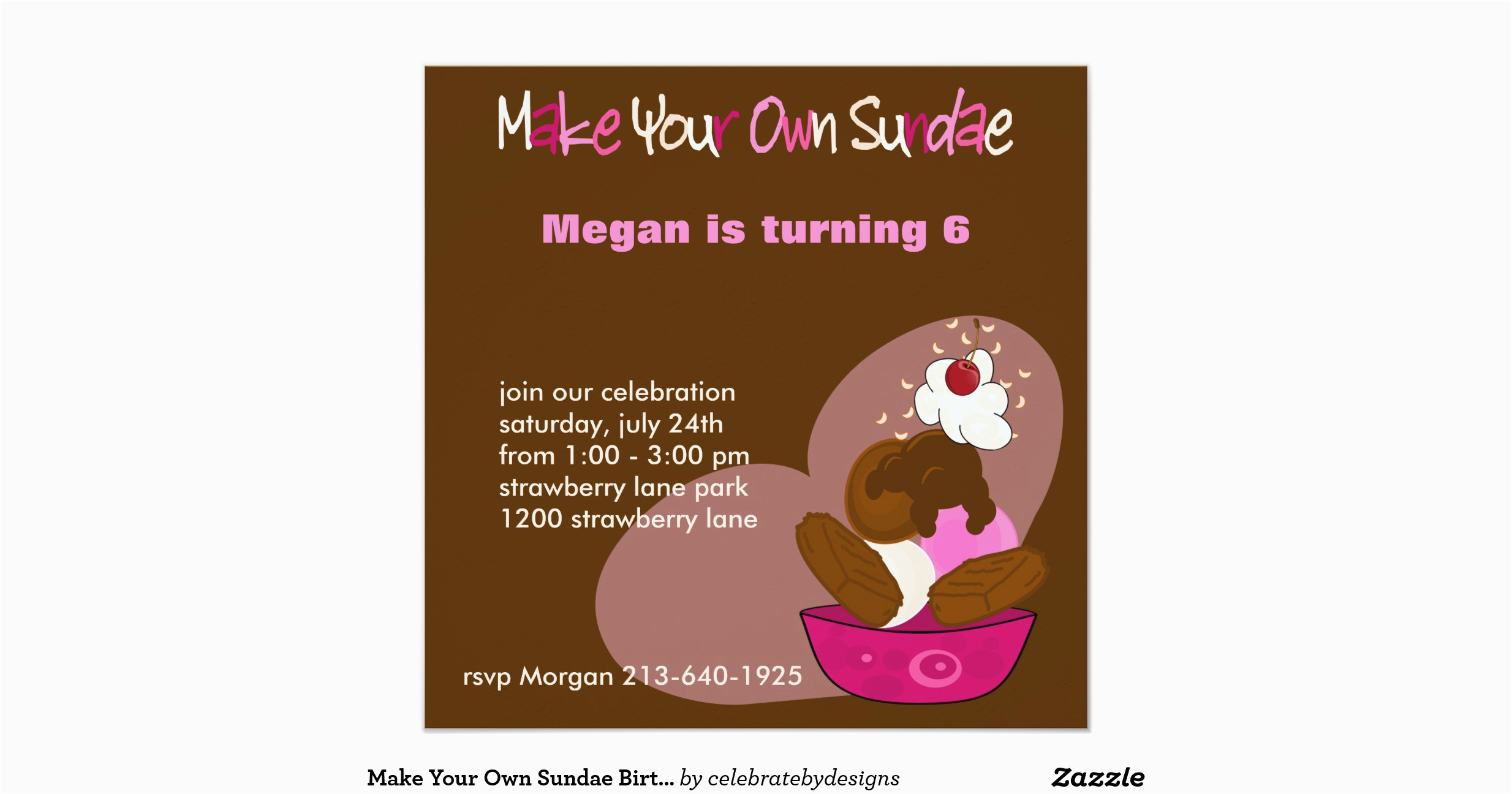 make your own sundae birthday invitation 161341624850405488