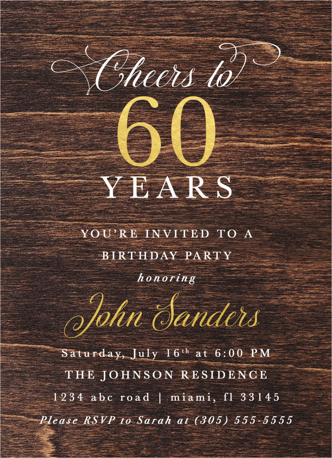 Male 60th Birthday Invitations Dark Wood Gold Foil Invitation
